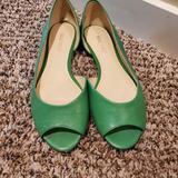 Nine West Shoes | Nine West Green Peep Toe Flats Size 6 | Color: Green | Size: 6
