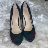 Nine West Shoes | Nine West Green And Purple Peep Toe Suede Heels | Color: Green/Purple | Size: 8.5
