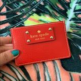 Kate Spade Bags | Kate Spade Red Leather Credit Card Wallet | Color: Gold/Red | Size: Os