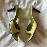 Nine West Shoes | Nine West Leather Slip On Low Heels 9.5 | Color: Green/Yellow | Size: 9.5
