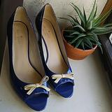 Kate Spade Shoes | Kate Spade Royal Blue Peep Toe Wedges | Color: Blue | Size: 10m