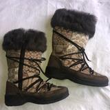 Coach Shoes | Coach Winter Boots, Fur Trim, Fleece Lined, Sz 7.5 | Color: Brown | Size: 7.5