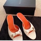 Gucci Shoes | Gucci White Peep Toe Mule Slides | Color: White | Size: 7.5
