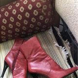 Nine West Shoes | Nine West 8m Red Leather Stiletto Boots | Color: Red | Size: 8
