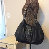 Coach Bags   Preowned Coach Black Leather Handbag   Color: Black/Blue   Size: Medium