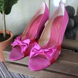 Kate Spade Shoes | Kate Spade Pink Bow Pumps | Color: Pink/Red | Size: 7.5