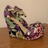 Nine West Shoes | Nine West Floral Cloth Printed Wedge Sandal | Color: Pink/Purple | Size: 9