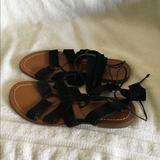 Kate Spade Shoes | Kate Spade Womens Black Suede Lace Up Sandals 7.5 | Color: Black | Size: 7.5