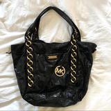 Michael Kors Bags   Michael Kors Patent Leather Python Shoulder Bag   Color: Black   Size: Os