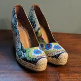 Nine West Shoes | Canvas Wedge Heel | Color: Blue/Green | Size: 9