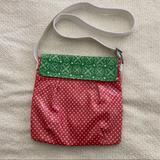 Disney Bags | Disney Parks Coated Canvas Polka Dot Crossbody | Color: Green/Pink | Size: See Photos
