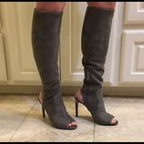 Nine West Shoes | Nine West Tall Peep Toe Boots | Color: Gray | Size: 7