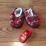 Disney Shoes | Lightening Mcqueen Slippers 2t-3t & Die Cast Car | Color: Tan | Size: 2t3t