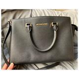 Michael Kors Bags | Michael Kors Selma Large Saffiano Satchel Used | Color: Black/Gold | Size: Large