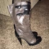 Michael Kors Shoes | Kors Brand 2 Tone Leather Combat Stilleto Boots | Color: Black | Size: 7.5
