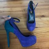 Jessica Simpson Shoes | Leather Maryjane Ankle Strap Pumps Stiletto Party | Color: Blue/Green | Size: 9
