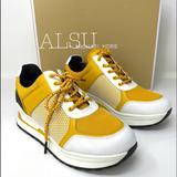 Michael Kors Shoes | Michael Kors Lindy Trainer Mesh Jasmine Womens | Color: White/Yellow | Size: Various