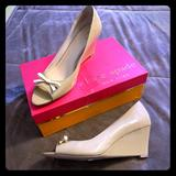 Kate Spade Shoes | Kate Spade Patent Peep Toe Wedge Pumps | Color: Cream/White | Size: 10