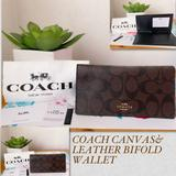 Coach Bags   Coach Canvas & Leather Bifold Wallet   Color: Brown   Size: Os