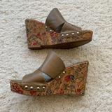 Nine West Shoes | Flower Print Cork Jaimy Wedges | Color: Green | Size: 9.5