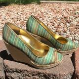 Nine West Shoes | Nine West Willow Peep Toe Striped Espadrille Wedge | Color: Green/Tan | Size: 8
