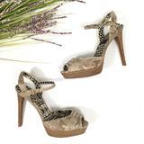 Jessica Simpson Shoes   Jessica Simpson   Snakeskin Peep Toe Ankle Strap   Color: Tan   Size: 8