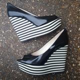 Michael Kors Shoes | Michael Kors Adalia Tall Peep Toe Wedges 7.5 | Color: Black/White | Size: 7.5