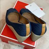 Coach Shoes | Coach Milan Denim Platform Wedge Peep-Toe Sandals | Color: Blue | Size: 7.5