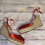 Nine West Shoes   Nine West Peep Toe Satin Wedge Heels 8 Bx3   Color: Orange/Tan   Size: 8