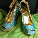 Nine West Shoes | Nine West Wedge Sandals | Color: Blue/Green | Size: 7m