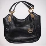 Michael Kors Bags | Michael Kors Black Leather Pursehandbag | Color: Black/Gold | Size: Os