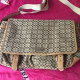 Coach Bags | Coach Signature Laptop Carry Bag Preowne Like New | Color: Cream/Tan | Size: 13 Inch L. To 15 Inc On Side 5 Inch Wide