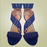 Jessica Simpson Shoes   Jessica Simpson Suede Lace High Heel Sandal   Color: Blue   Size: 8