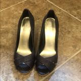 Nine West Shoes | Dark Purple Peep Toe Pump | Color: Purple | Size: 6
