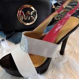 Nine West Shoes | Nine West Black & Red Hi-Heel Platform Sandals | Color: Gray/White | Size: 6.5
