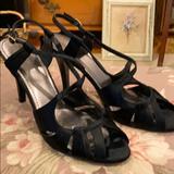 Nine West Shoes | Nine West Black Satin Dress Shoes Sz. 9.5 | Color: Black | Size: 9.5