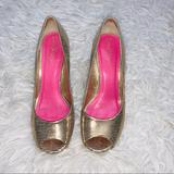 Lilly Pulitzer Shoes | Lilly Pulitzer Resort Chic Peep Toe Wedge Sandals | Color: Gold/Pink | Size: 7.5