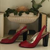 Nine West Shoes | Nine West Red Sling Back Heels | Color: Black/Red | Size: 8