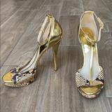 Michael Kors Shoes | Michael Kors Snakeskin Ankle Strap High Heels | Color: Gold/Tan | Size: 8.5