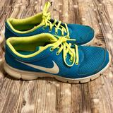 Nike Shoes | Nike Bright Blue Tennis Shoes With Neon Green Lace | Color: Blue/Green | Size: 9.5