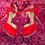 Nine West Shoes   Nine West Red Peep Toe Heels   Color: Red   Size: 9