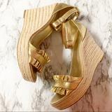 Michael Kors Shoes | Michael Kors Espadrille Platform Sandals Gold 8.5m | Color: Brown/Gold | Size: 8.5