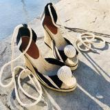 Kate Spade Shoes | Late Spade Blackcream Striped Espadrilles Wedges | Color: Black/Cream | Size: 6