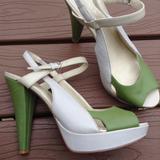 Nine West Shoes | Nine West 1940'S Style Bilson Peep Toe Heels 7 | Color: Cream/Green | Size: 7