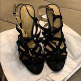 Coach Shoes | Coach Lace Up Suede Wedge Sandals. Size 8.5. | Color: Black/Silver | Size: 8.5
