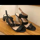 Kate Spade Shoes | Kate Spade Black And White Heeled Sandals | Color: Black/White | Size: 9.5