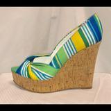 Nine West Shoes | Nine West Chill Pill Platform Peep Toe Wedges- 6.5 | Color: Blue/Yellow | Size: 6.5