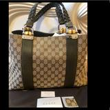 Gucci Bags | Gucci Tote Bag With Olive Green Leather Detailing | Color: Green | Size: Os