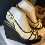 Coach Shoes | Coach Shoes Size 6.5 Platform Wedge Peep Toe | Color: Black/White | Size: 6.5
