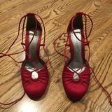 Nine West Shoes | Lace Up Red Pumps | Color: Red | Size: 7.5